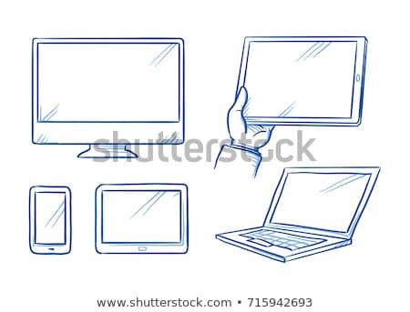 Stok fotoğraf: Bilgisayar · Sunucu · karalama · ikon