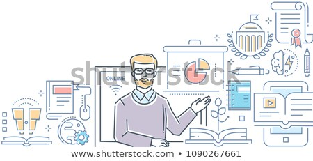 webinar   modern colorful line design style illustration stock photo © decorwithme