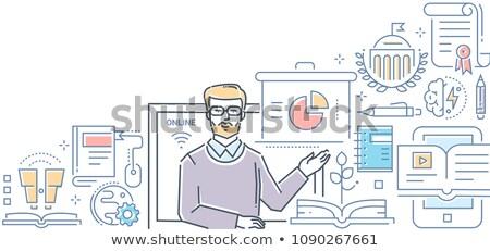 Webinar modern színes vonal terv stílus Stock fotó © Decorwithme