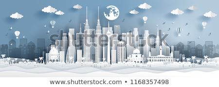 winter town   modern vector paper cut illustration stock photo © decorwithme