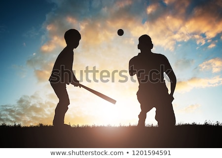 silhouette of family playing baseball stock photo © andreypopov