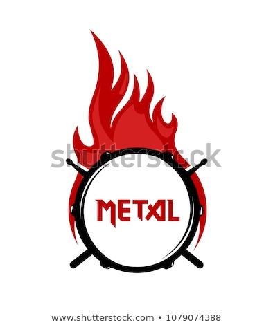 guitarra · eléctrica · guitarra · estilizado · pared · de · ladrillo · música · fondo - foto stock © lenm