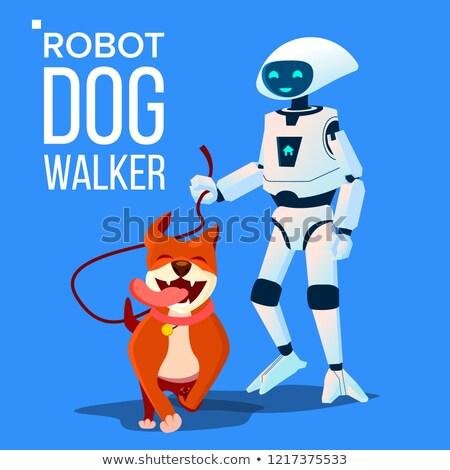 Stock photo: Robot Dogwalker Petsitter Walking A Dog Vector. Isolated Illustration