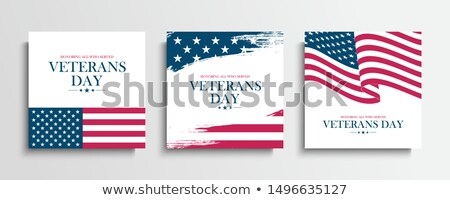 Happy veterans day, banner with congratulations and American flag Stock photo © MarySan