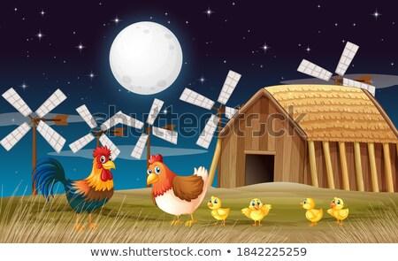 ファーム シーン かかし 背景 鶏 動物 ストックフォト © colematt