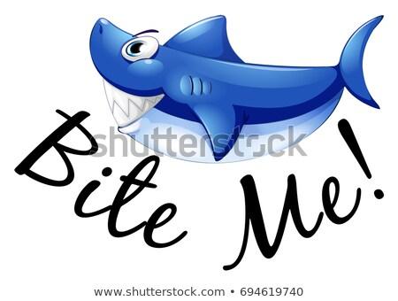 Blauw haai bijten me illustratie Stockfoto © colematt