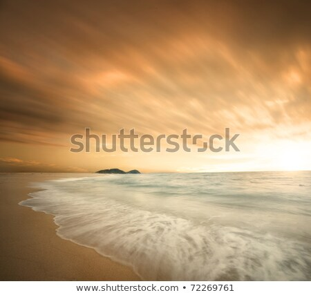 Dark storm clouds moving out to sea at dawn Stock photo © lovleah