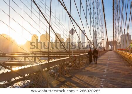 Híd gyalogos séta út zöld fém Stock fotó © bobkeenan