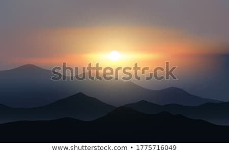 climbing hiking silhouette in mountains over summer sunrise stock photo © blasbike