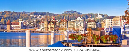 City of Lucerne lake waterfront and harbor panoramic view Stock photo © xbrchx