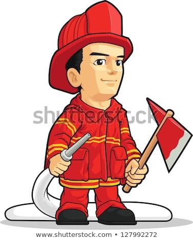 Cartoon uśmiechnięty strażak chłopca Zdjęcia stock © cthoman