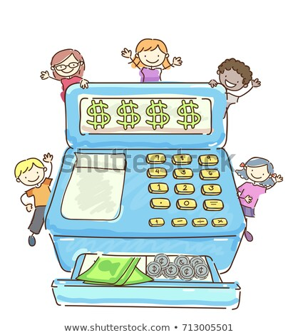 Stickman Kids Cash Register Illustration Stock photo © lenm