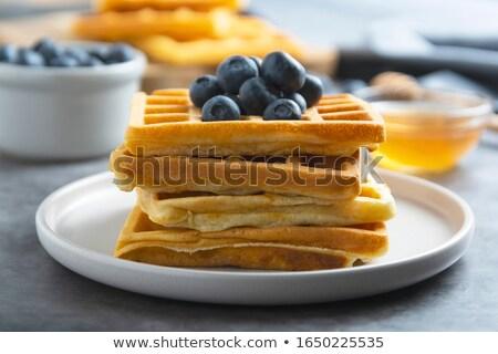 ワッフル · ブルーベリー · プレート · 表 · フルーツ · ミルク - ストックフォト © lidante