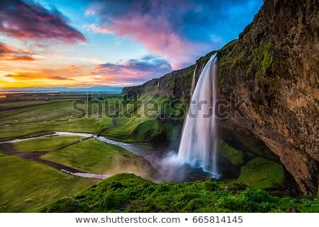водопада удивительный Исландия трава природы пейзаж Сток-фото © iko