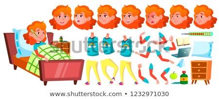 Sick Girl Schoolgirl Vector. School Child. Animation Creation Set. Face Emotions, Gestures. Schoolch Stock photo © pikepicture