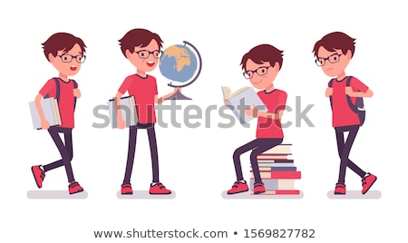 elementary age boy cartoon illustration Stock photo © izakowski
