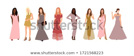 set of elegant colorful women cocktail dresses stock photo © marysan