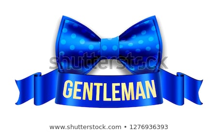 gentleman label vector design blue ribbon vintage style bow tie realistic illustration stock photo © pikepicture