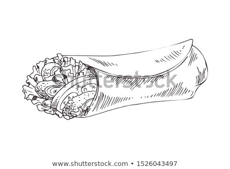 Burrito Monochrome Icon in Sketch Style for Promo Stock photo © robuart
