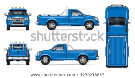 Realistic Blue Pickup Truck Vector Mock-up Stock photo © YuriSchmidt