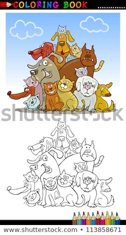 Chiens groupe couleur livre cartoon Photo stock © izakowski