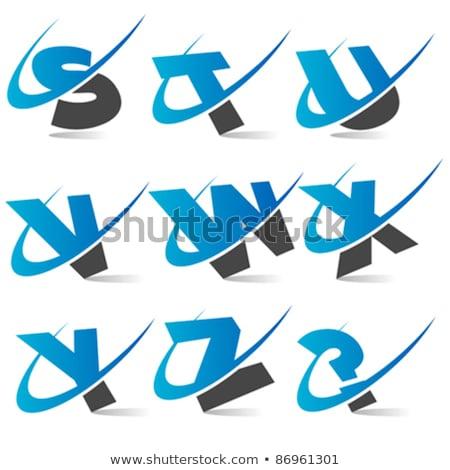 v letter blue black logo icon element Stock photo © blaskorizov