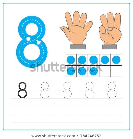 numara · sekiz · renk · gri · arka · plan · çocuklar - stok fotoğraf © colematt