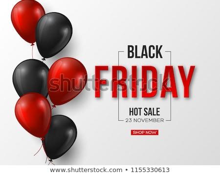 Stockfoto: Friday Sale Promo Labels Black Balloon Vector