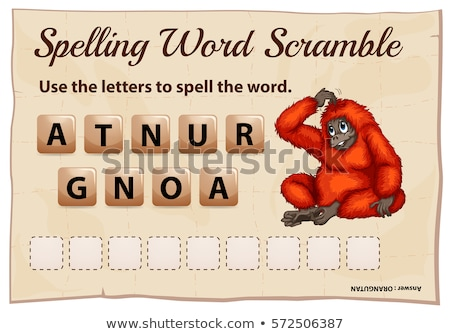 Spelling word scramble game template with orangutan Stock photo © colematt