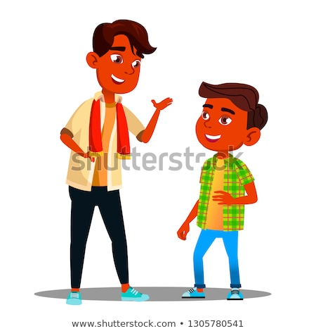 Two Indian Boys Talking To Each Other Vector. Isolated Illustration Stock photo © pikepicture