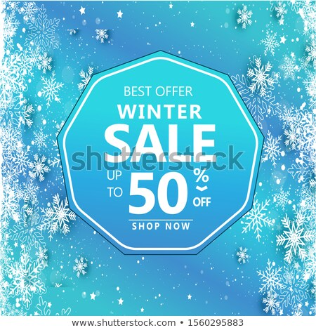 Big Winter Sale 50 Percent Off Poster, Snowflakes Stock photo © robuart
