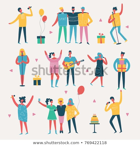 partying people dancing couple and female singer stock photo © robuart