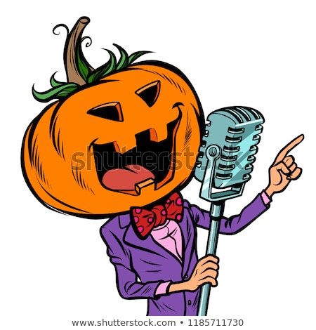 Halloween pumpkin character singer. Isolate on white background Stock photo © rogistok