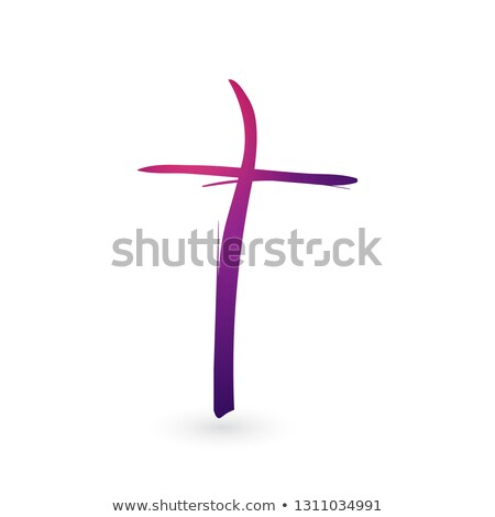 Hand drawn gradient christian cross signs. Brush painted black icon. Vector illustration isolated on stock photo © kyryloff