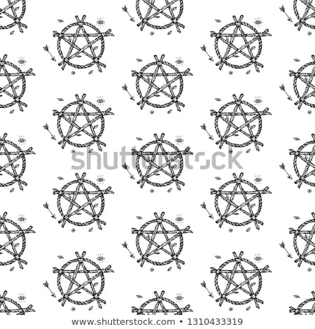 dotwork magic pentagram seamless pattern stock photo © anna_leni