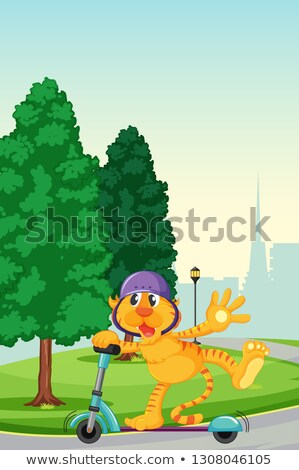 tigre · jogar · chutá · parque · ilustração - foto stock © colematt