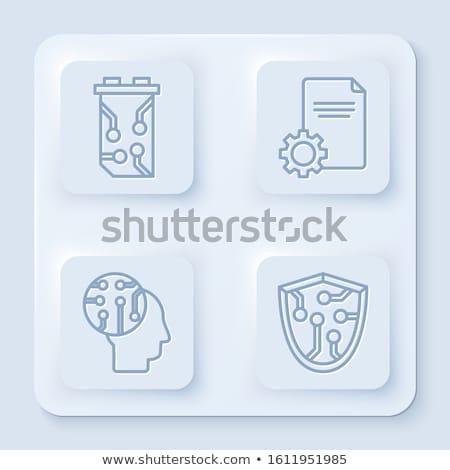Biztonság pajzs nyáklap digitális vonalak izolált Stock fotó © kyryloff