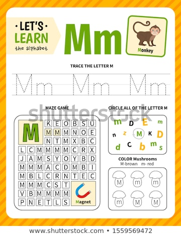 Stock photo: how to write letter M workbook