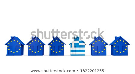 House with flag of greece in a row of EU flags Stock photo © MikhailMishchenko