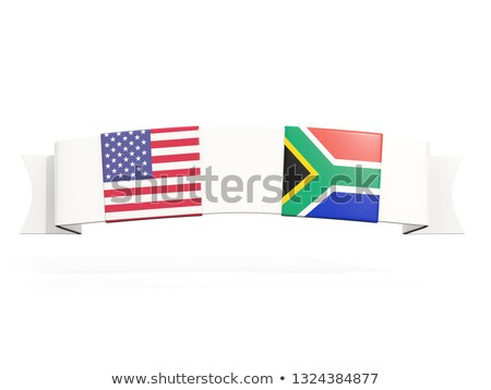 Banner with two square flags of United States and south africa Stock photo © MikhailMishchenko