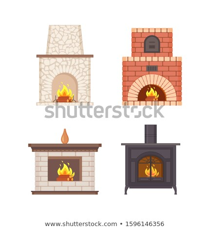 Fireplace with Wooden Shelf and Vase on Top Set Stock photo © robuart