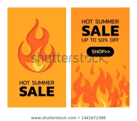Promo ilustração fogo chama ardente cartaz Foto stock © robuart