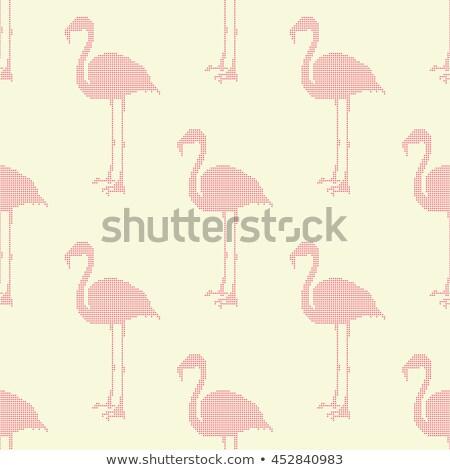 Sablon trópusi flamingó végtelenített illusztráció levelek Stock fotó © lenm