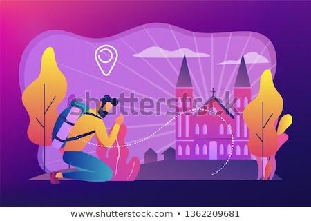Christian pilgrimages concept vector illustration. Stock photo © RAStudio