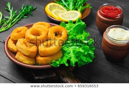 хрустящий · кольцами · чеснока · соус · лимона · продовольствие - Сток-фото © barbaraneveu
