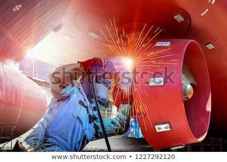 груза · суда · сумерки · контейнера · судно · рабочих - Сток-фото © 5xinc
