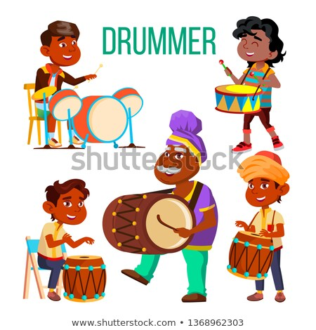 Drummers Using Ethnic Percussion Vector Characters Set Stock photo © pikepicture