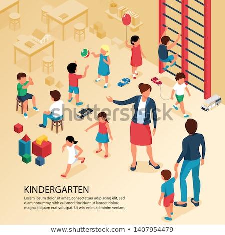 Vector isometric Kindergarten Preschool Classroom Photo stock © tele52