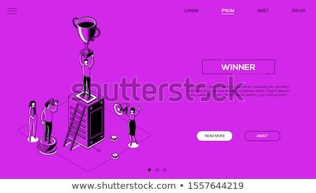 winner   line design style isometric web banner stock photo © decorwithme