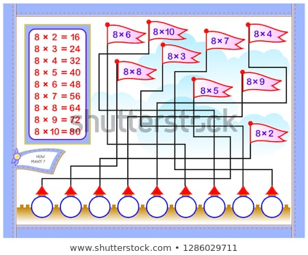 Number eight multiplication circle worksheets Stock photo © colematt